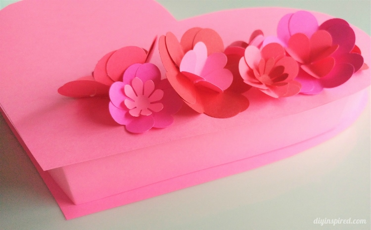 Diy Valentine Heart Box With Paper Flowers Diy Inspired