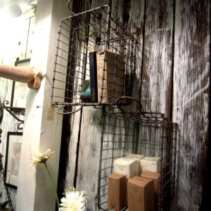 Repurposed Wire Crate Shelves
