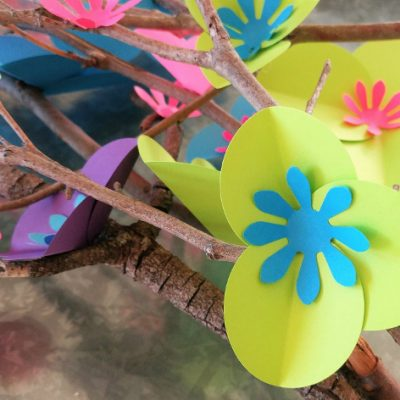 Easy Circle Punch Paper Flowers on Branches