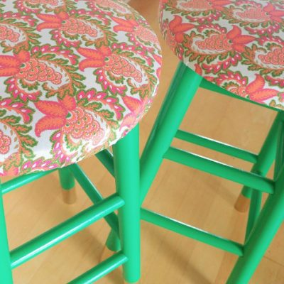 Emerald Green and Gold DIY Stool Makeover