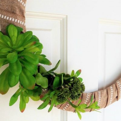 DIY Wire Ribbon Wreath with Succulents