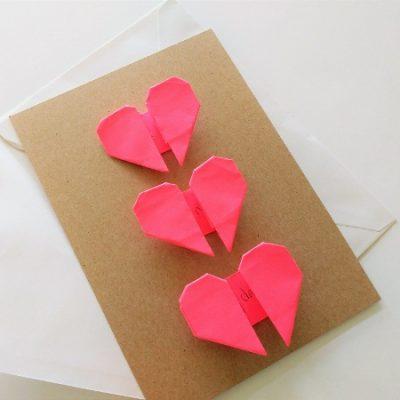 Origami Hearts Handmade Card
