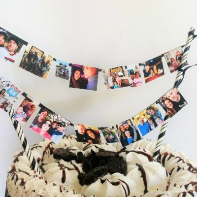 Easy DIY Photo Banner Cake Topper