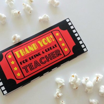 Thank You Teacher Movie Ticket Printable Envelope