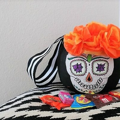 Day of the Dead Paper Mache Trick or Treat Pail