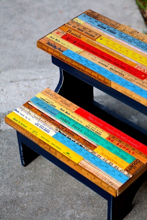 Diy Step Stool With Upcycled Vintage Rulers Diy Inspired