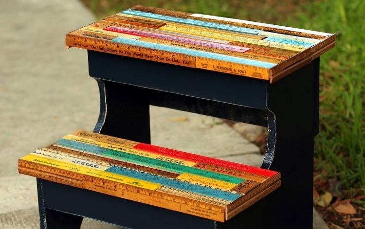 Upcycled Rulers Step Stool
