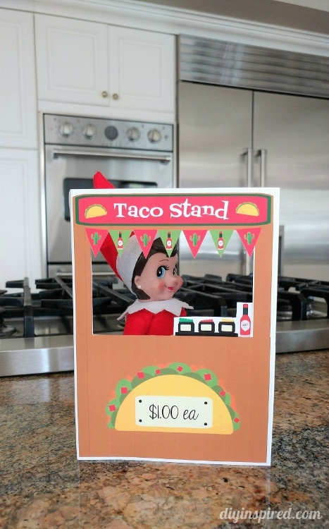 Get an Elf on a Shelf Printable Taco Stand for your Elf this Holiday Season