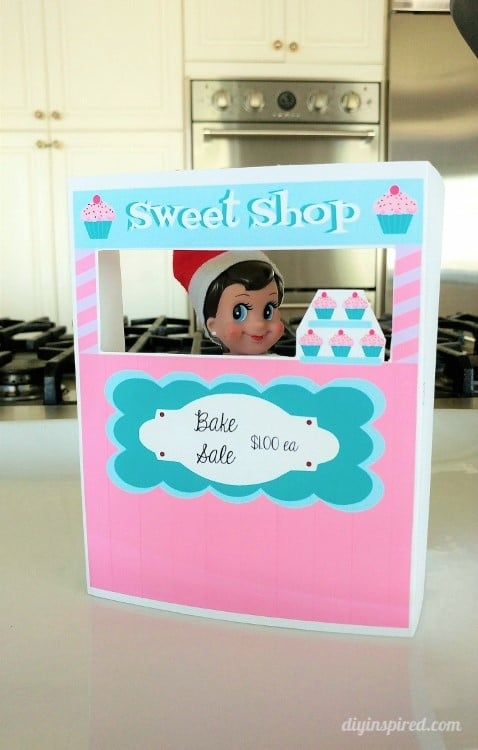 Get an Elf on a Shelf Printable Bake Shop Stand for your Elf this Holiday Season