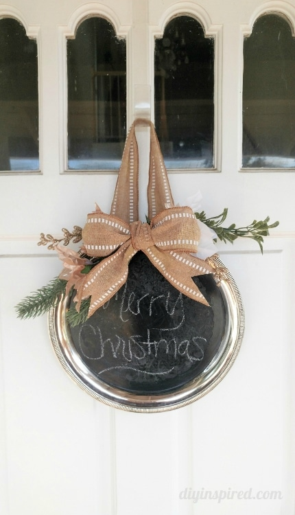 How to Make a Thrift Store Repurposed Chalkboard Silver Platter Wreath for your Christmas Décor