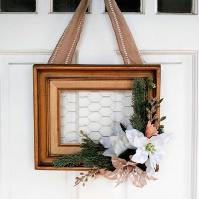 Repurposed Frame Christmas Wreath