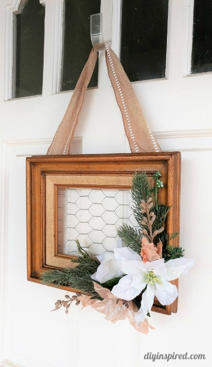 Turn a Thrift Store Frame into a Repurposed Frame Christmas Wreath with Chicken Wire