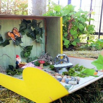 Upcycled Fairy Garden in a Box