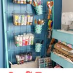 Repurposed Crib for Craft Room Storage