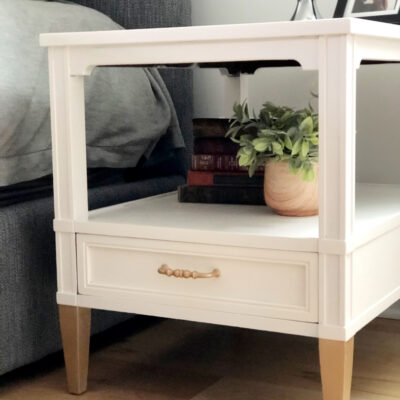DIY White and Gold Nightstands