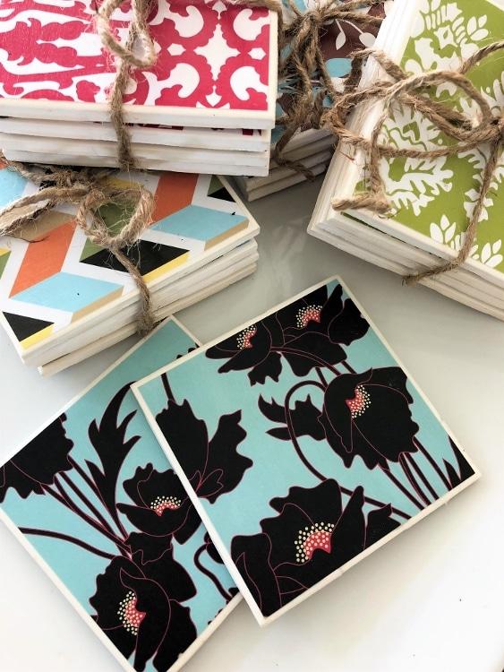 Repurposed Tile Coasters DIY