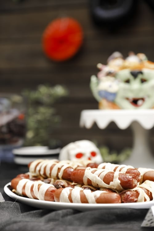 crescent-rolled wrapped hot dogs, mummy dogs