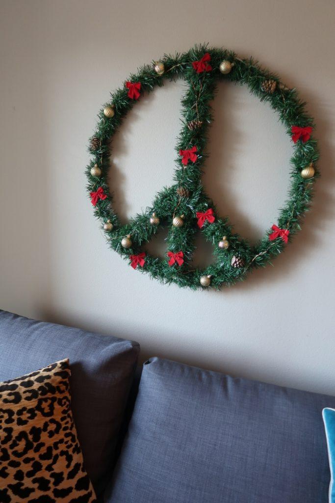 DIY Peace Sign Wreath with Hula Hoop