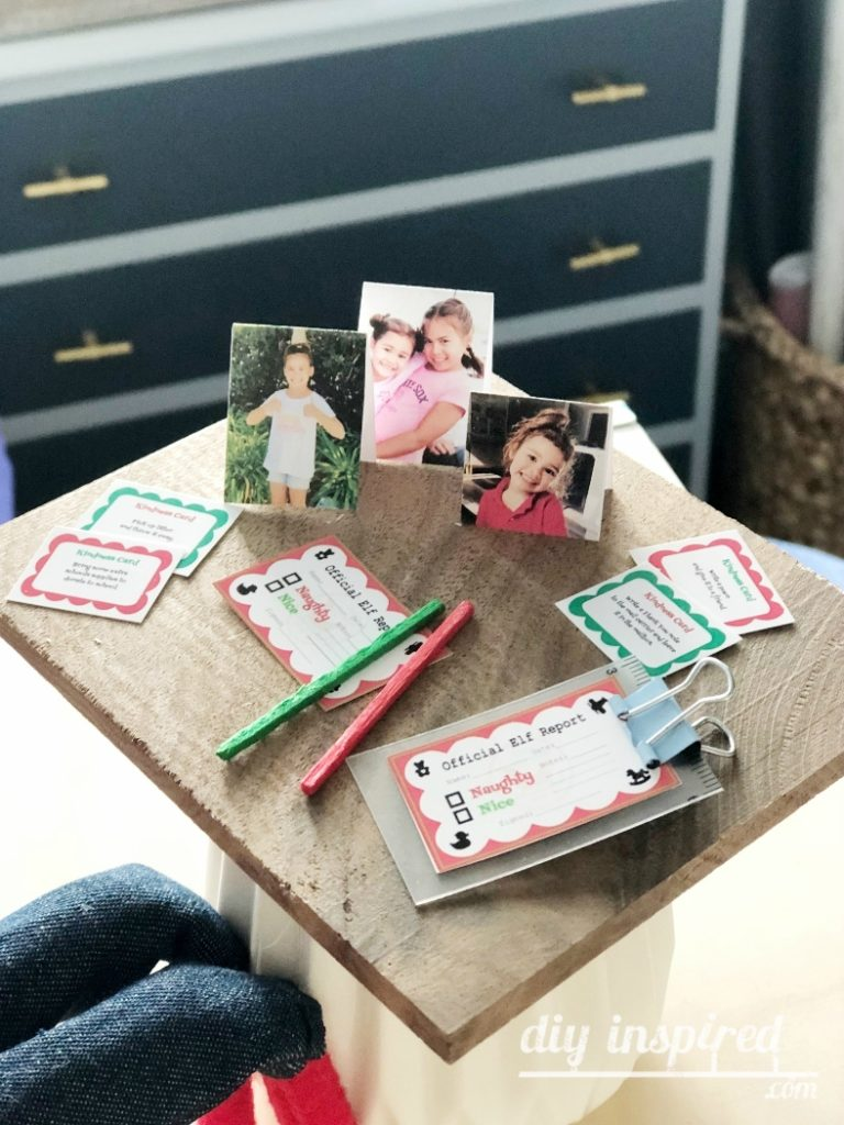 Elf Desk with Mini Elf Reports and Kindness Cards - DIY Inspired