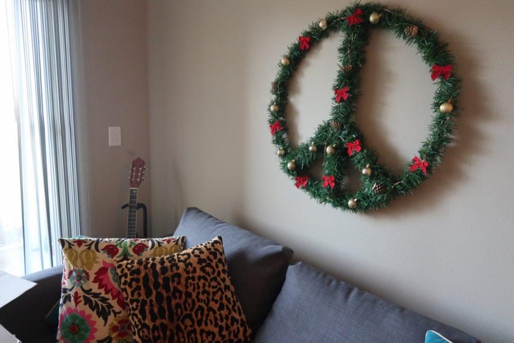Repurposed DIY Peace Sign Wreath