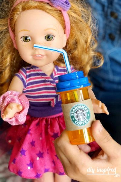 Recycled Craft Doll Starbucks Drinks