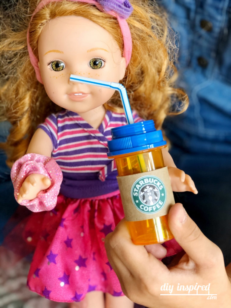 Recycled Craft Doll Starbucks Drinks