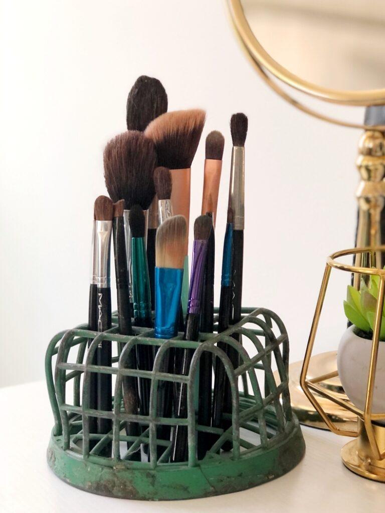 Repurposed Makeup Brush Holder