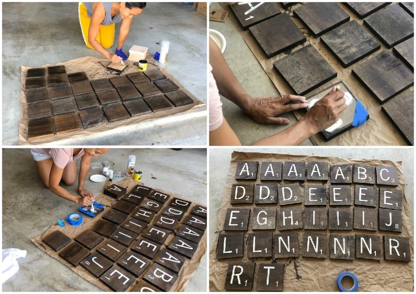 Stenciling Giant Scrabble Tiles