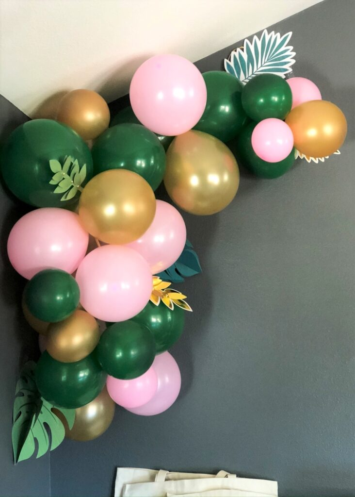 Pink Green Gold Balloon Arch