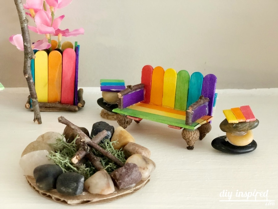 Fairy Garden Bench and Firepit