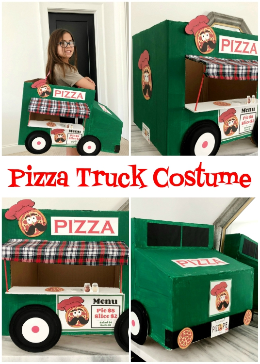 DIY Pizza Cardboard Costume for Halloween