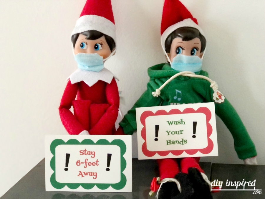 Elf DIY Face Masks with Free Printable Signs