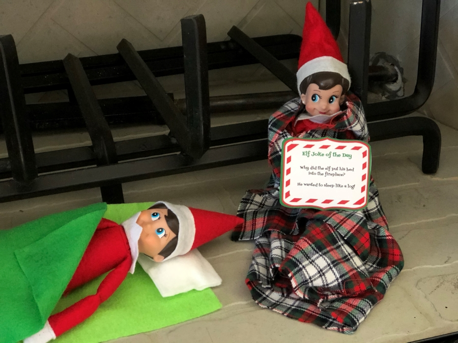 Elves in a fireplace