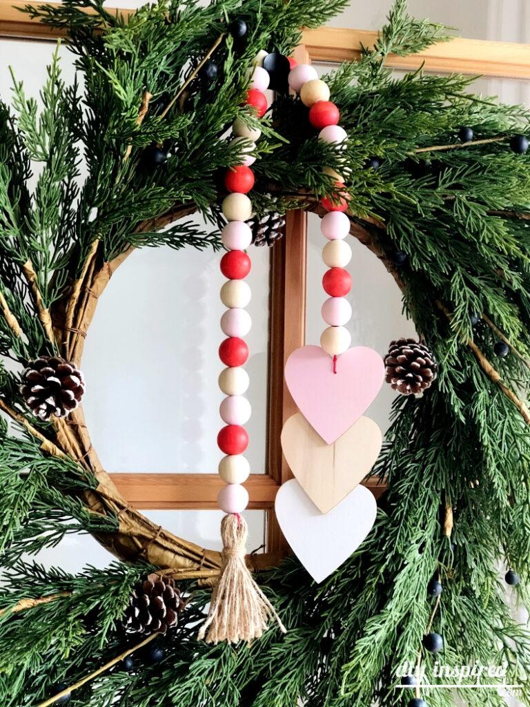 DIY Wood Bead Valentine Wreath