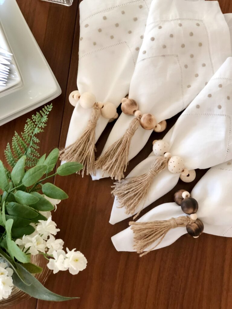 DIY Wood Bead Napkin Rings