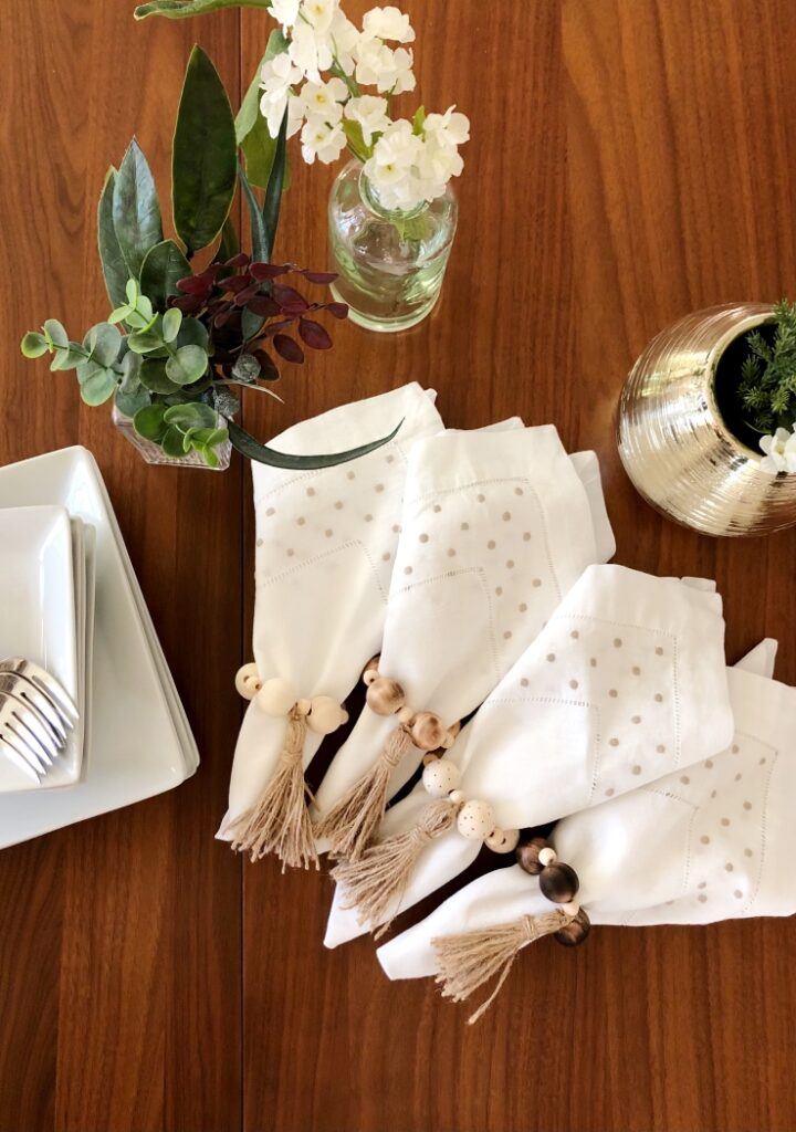 Wood Bead and Jute Tassel Napkin Rings