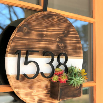 Front Door Wreath with Floating Numbers