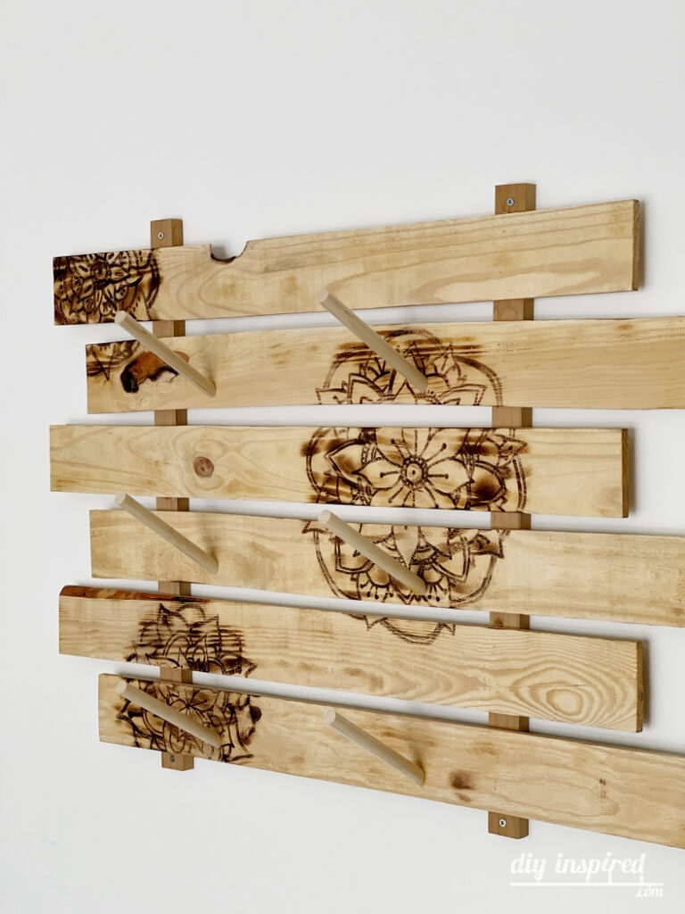 Skateboard Rack with Wood Burned Designs