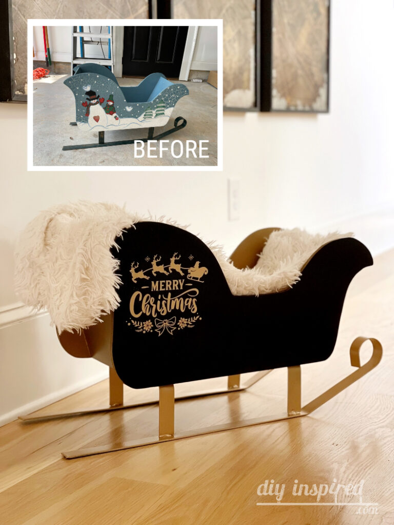Before and After Santa Sleigh Makeover